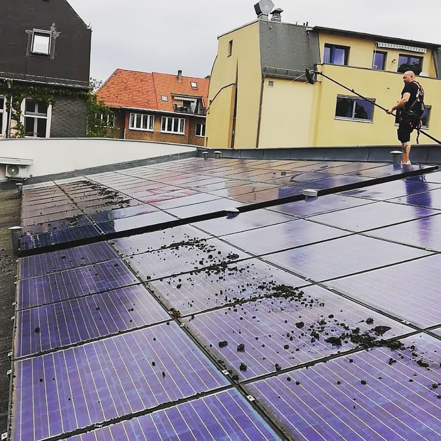 Reinigung einer stark verschmutzten Photovoltaikanlage das erste Mal nach 9 Jahren